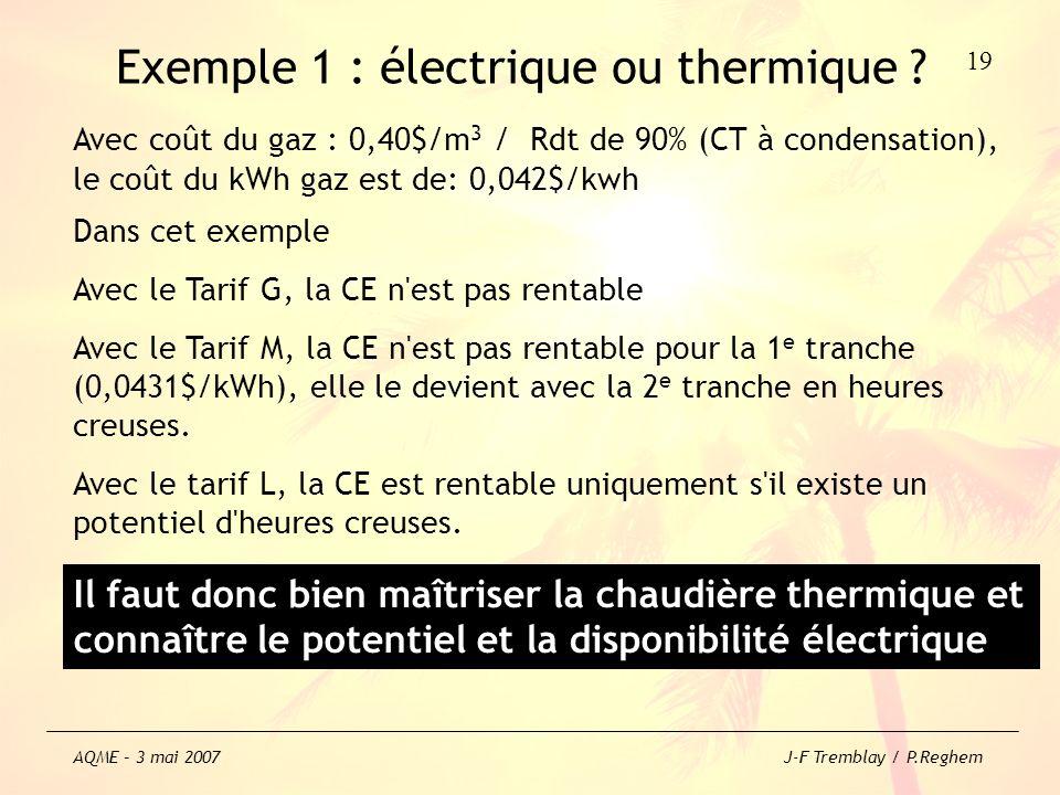 Exemple 1 : électrique ou thermique ? Dans cet exemple Avec le Tarif G, la CE n'est pas rentable Avec le Tarif M, la CE n'est pas rentable pour la 1 e