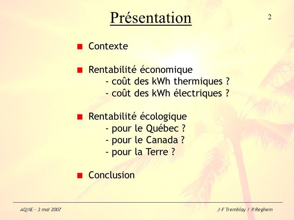 Présentation Contexte Rentabilité économique - coût des kWh thermiques ? - coût des kWh électriques ? Rentabilité écologique - pour le Québec ? - pour