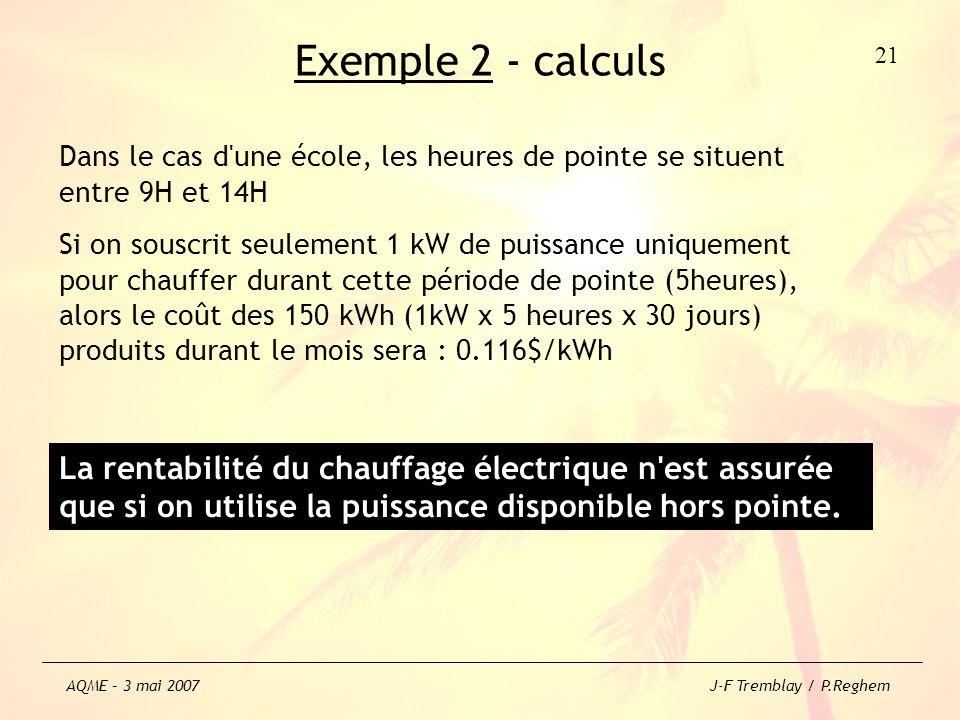 Exemple 2 - calculs Dans le cas d'une école, les heures de pointe se situent entre 9H et 14H Si on souscrit seulement 1 kW de puissance uniquement pou