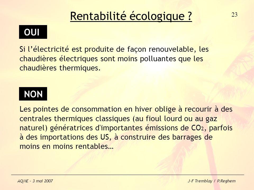 Si lélectricité est produite de façon renouvelable, les chaudières électriques sont moins polluantes que les chaudières thermiques. Les pointes de con