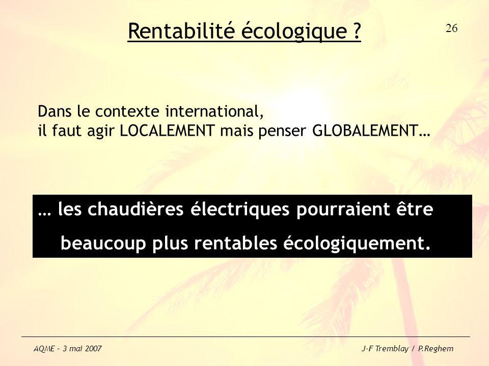 Rentabilité écologique ? Dans le contexte international, il faut agir LOCALEMENT mais penser GLOBALEMENT… … les chaudières électriques pourraient être