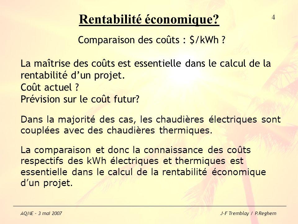 Rentabilité écologique ? 25 AQME – 3 mai 2007 J-F Tremblay / P.Reghem