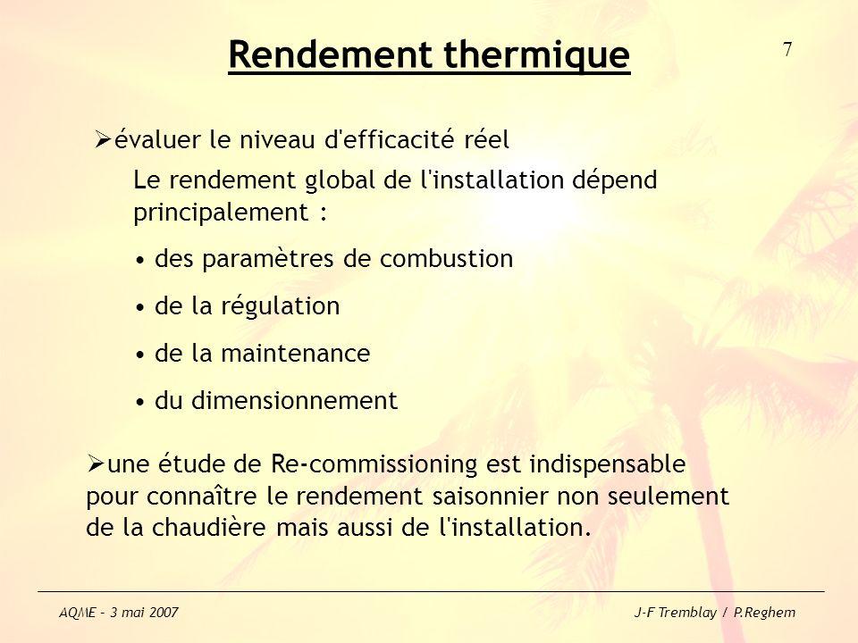 Rendement thermique évaluer le niveau d'efficacité réel une étude de Re-commissioning est indispensable pour connaître le rendement saisonnier non seu