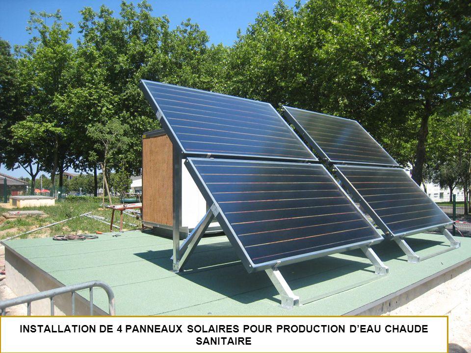 INSTALLATION DE 4 PANNEAUX SOLAIRES POUR PRODUCTION DEAU CHAUDE SANITAIRE