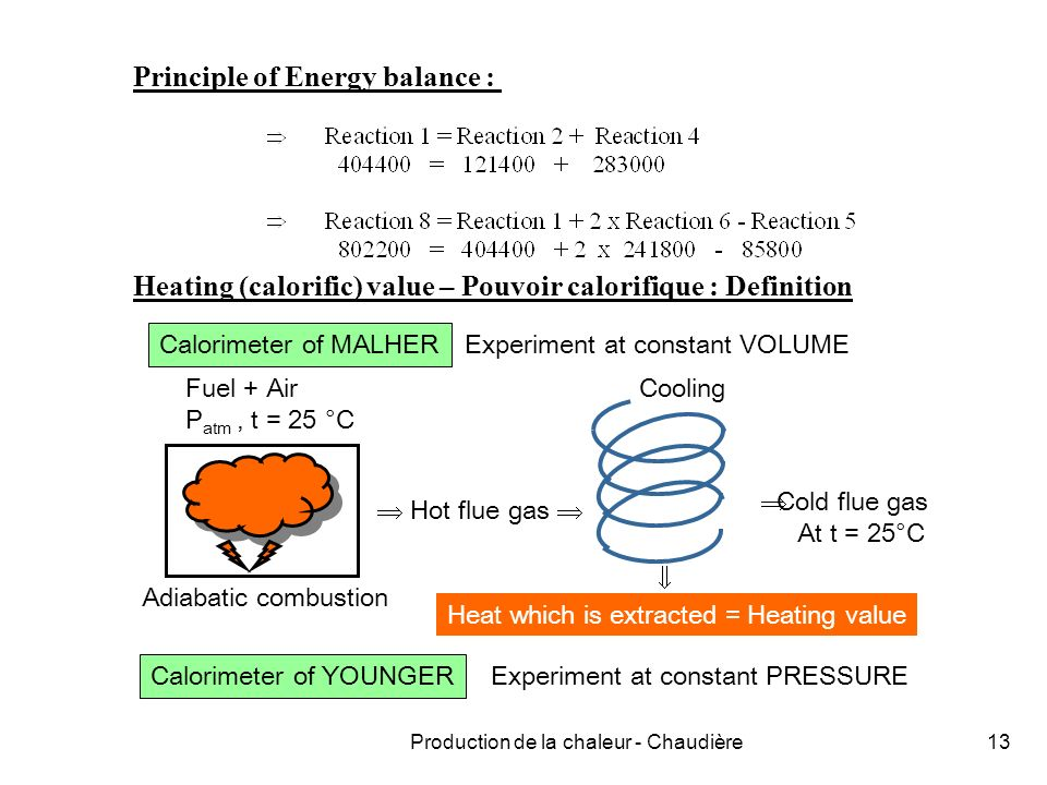 Production de la chaleur - Chaudière13 Principle of Energy balance : Heating (calorific) value – Pouvoir calorifique : Definition Calorimeter of MALHER Fuel + Air P atm, t = 25 °C Adiabatic combustion Hot flue gas Cooling Cold flue gas At t = 25°C Heat which is extracted = Heating value Calorimeter of YOUNGER Experiment at constant VOLUME Experiment at constant PRESSURE