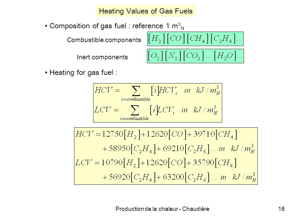 Production de la chaleur - Chaudière16 Heating for gas fuel : Heating Values of Gas Fuels Composition of gas fuel : reference 1 m 3 N Combustible components Inert components