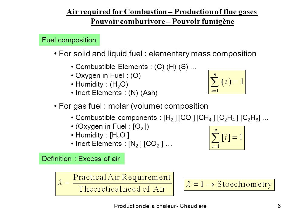 Production de la chaleur - Chaudière17 Combustibles solides Combustibles liquides PCI = 44000 … 42000 kJ/kg fractions légères lourdes CHARBON BOIS PCI BRUT = [1 - (cen) - (H 2 O)] PCI PUR & SEC - 2501 (H 2 O) PCI PUR & SEC = 35000 … 35500 kJ/kg PCI PUR & SEC 18500 kJ/kg si (H 2 O) = 0.20 PCI BRUT 14300 kJ/kg