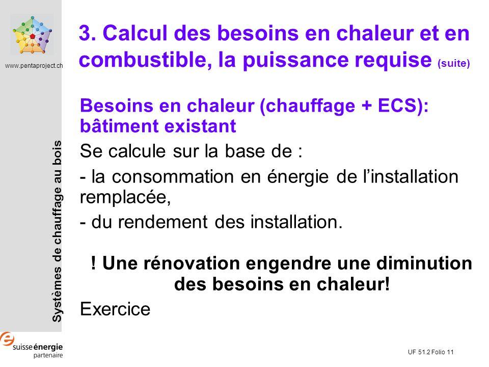 Systèmes de chauffage au bois www.pentaproject.ch UF 51.2 Folio 11 Besoins en chaleur (chauffage + ECS): bâtiment existant Se calcule sur la base de : - la consommation en énergie de linstallation remplacée, - du rendement des installation.