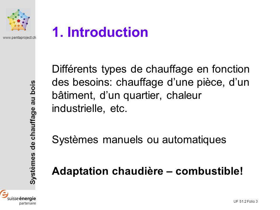 www.pentaproject.ch UF 51.2 Folio 3 1. Introduction Différents types de chauffage en fonction des besoins: chauffage dune pièce, dun bâtiment, dun qua
