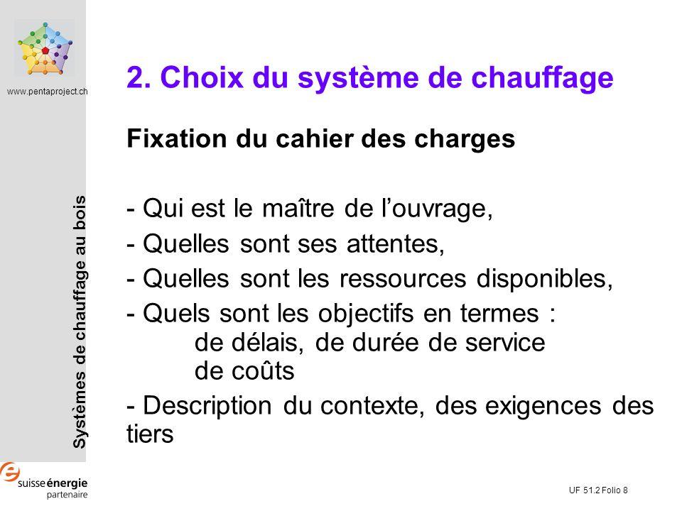 Systèmes de chauffage au bois www.pentaproject.ch UF 51.2 Folio 8 2. Choix du système de chauffage Fixation du cahier des charges - Qui est le maître