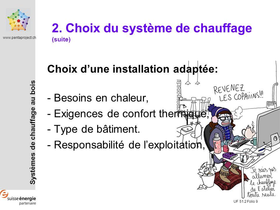 Systèmes de chauffage au bois www.pentaproject.ch UF 51.2 Folio 9 2. Choix du système de chauffage (suite) Choix dune installation adaptée: - Besoins
