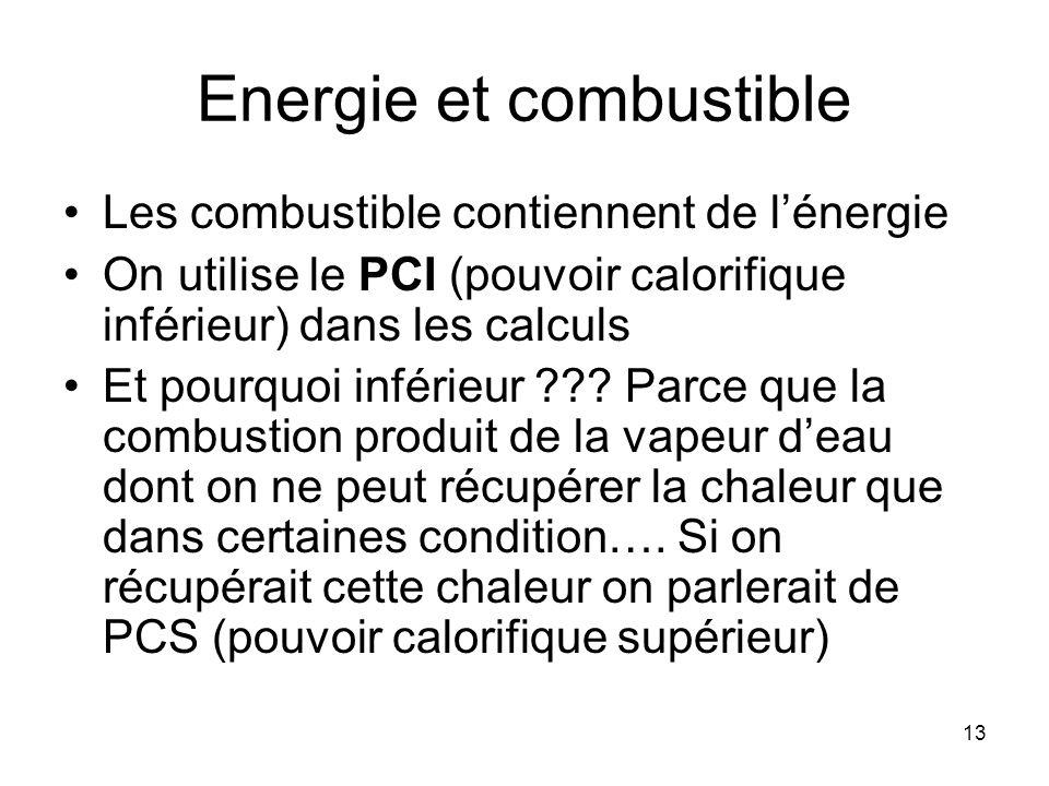 13 Energie et combustible Les combustible contiennent de lénergie On utilise le PCI (pouvoir calorifique inférieur) dans les calculs Et pourquoi infér