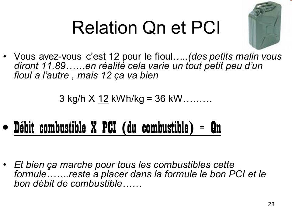 28 Relation Qn et PCI Vous avez-vous cest 12 pour le fioul…..(des petits malin vous diront 11.89……en réalité cela varie un tout petit peu dun fioul a