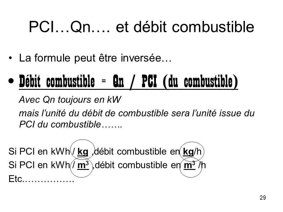 29 PCI…Qn…. et débit combustible La formule peut être inversée… Débit combustible = Qn / PCI (du combustible) Avec Qn toujours en kW mais lunité du dé