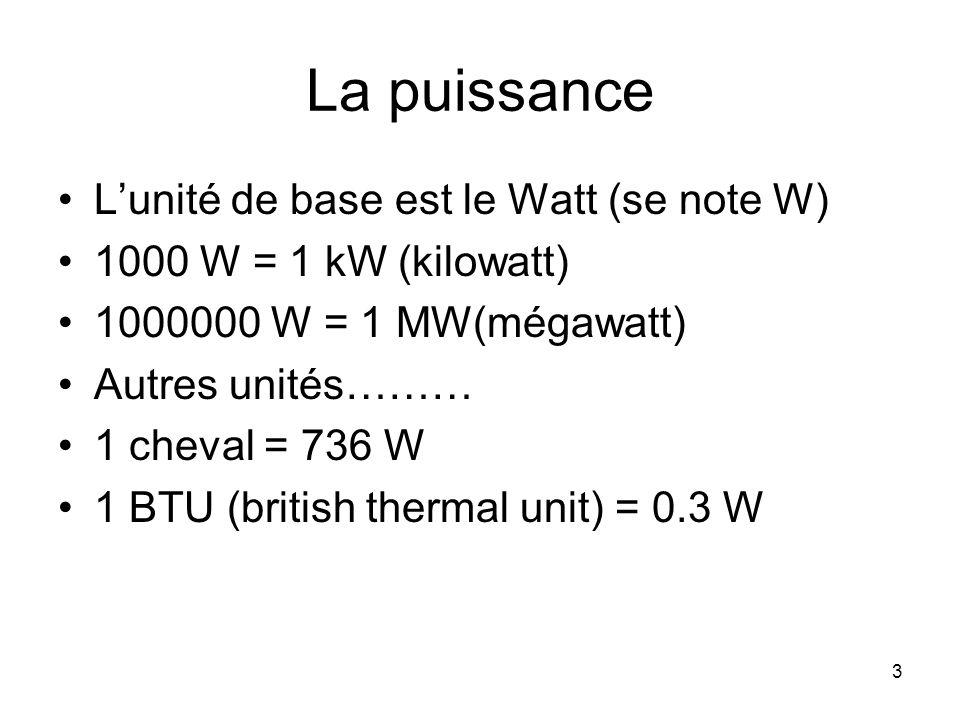3 La puissance Lunité de base est le Watt (se note W) 1000 W = 1 kW (kilowatt) 1000000 W = 1 MW(mégawatt) Autres unités……… 1 cheval = 736 W 1 BTU (bri