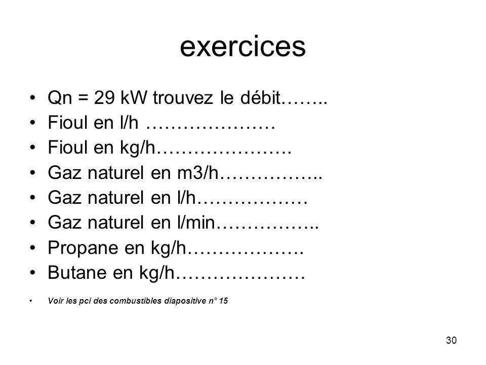 30 exercices Qn = 29 kW trouvez le débit…….. Fioul en l/h ………………… Fioul en kg/h…………………. Gaz naturel en m3/h…………….. Gaz naturel en l/h……………… Gaz nature