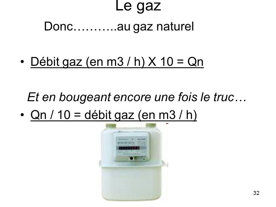 32 Le gaz Donc………..au gaz naturel Débit gaz (en m3 / h) X 10 = Qn Et en bougeant encore une fois le truc… Qn / 10 = débit gaz (en m3 / h)