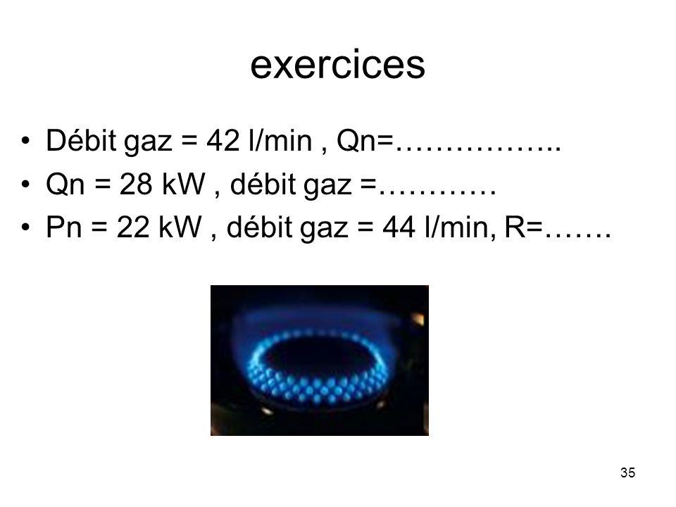 35 exercices Débit gaz = 42 l/min, Qn=…………….. Qn = 28 kW, débit gaz =………… Pn = 22 kW, débit gaz = 44 l/min, R=…….