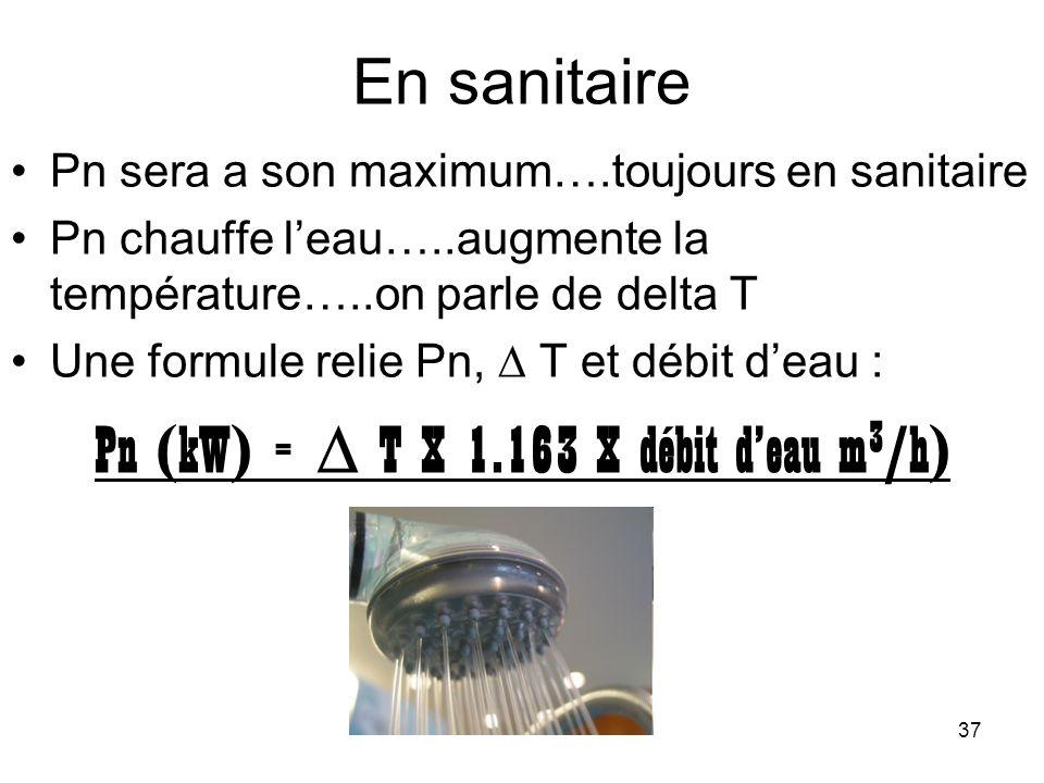37 En sanitaire Pn sera a son maximum….toujours en sanitaire Pn chauffe leau…..augmente la température…..on parle de delta T Une formule relie Pn, T e