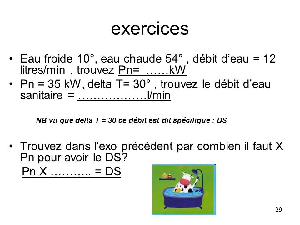 39 exercices Eau froide 10°, eau chaude 54°, débit deau = 12 litres/min, trouvez Pn= ……kW Pn = 35 kW, delta T= 30°, trouvez le débit deau sanitaire =