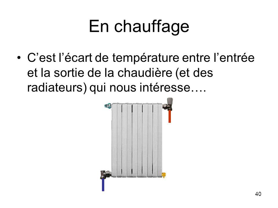40 En chauffage Cest lécart de température entre lentrée et la sortie de la chaudière (et des radiateurs) qui nous intéresse….