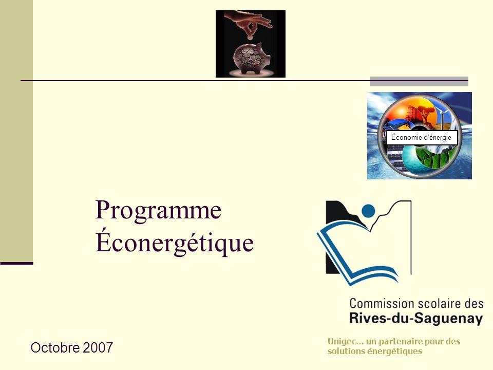 Unigec… un partenaire pour des solutions énergétiques Programme Éconergétique Économie dénergie Octobre 2007