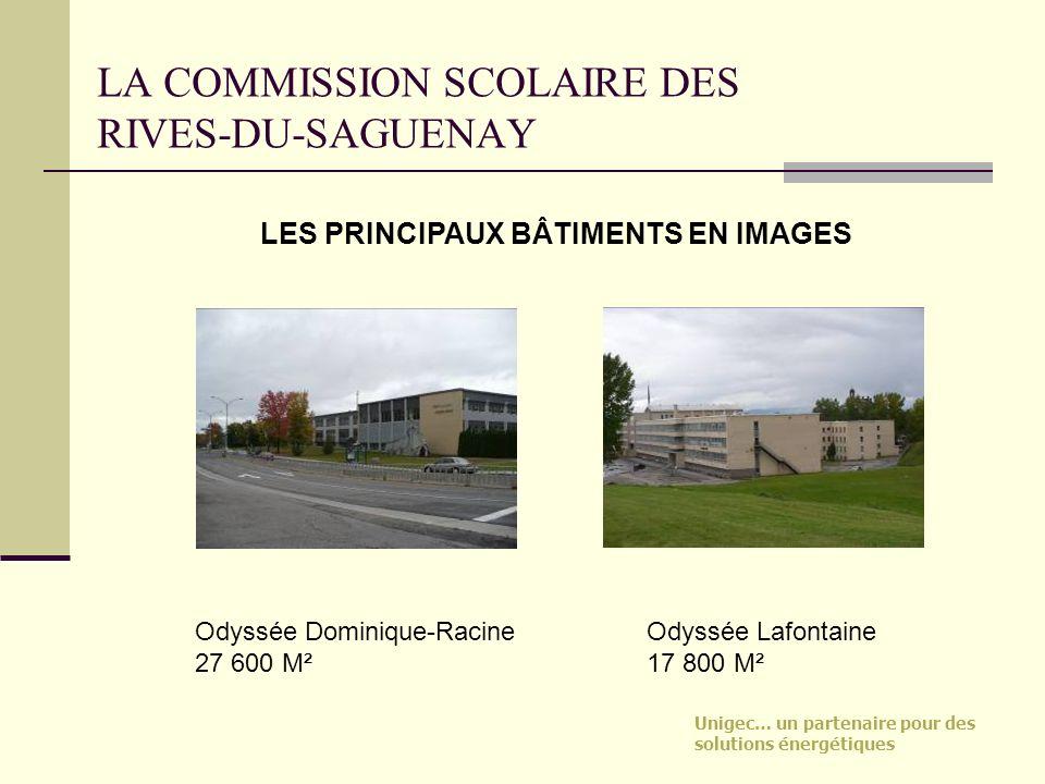 Unigec… un partenaire pour des solutions énergétiques LA COMMISSION SCOLAIRE DES RIVES-DU-SAGUENAY Odyssée Dominique-Racine 27 600 M² LES PRINCIPAUX B