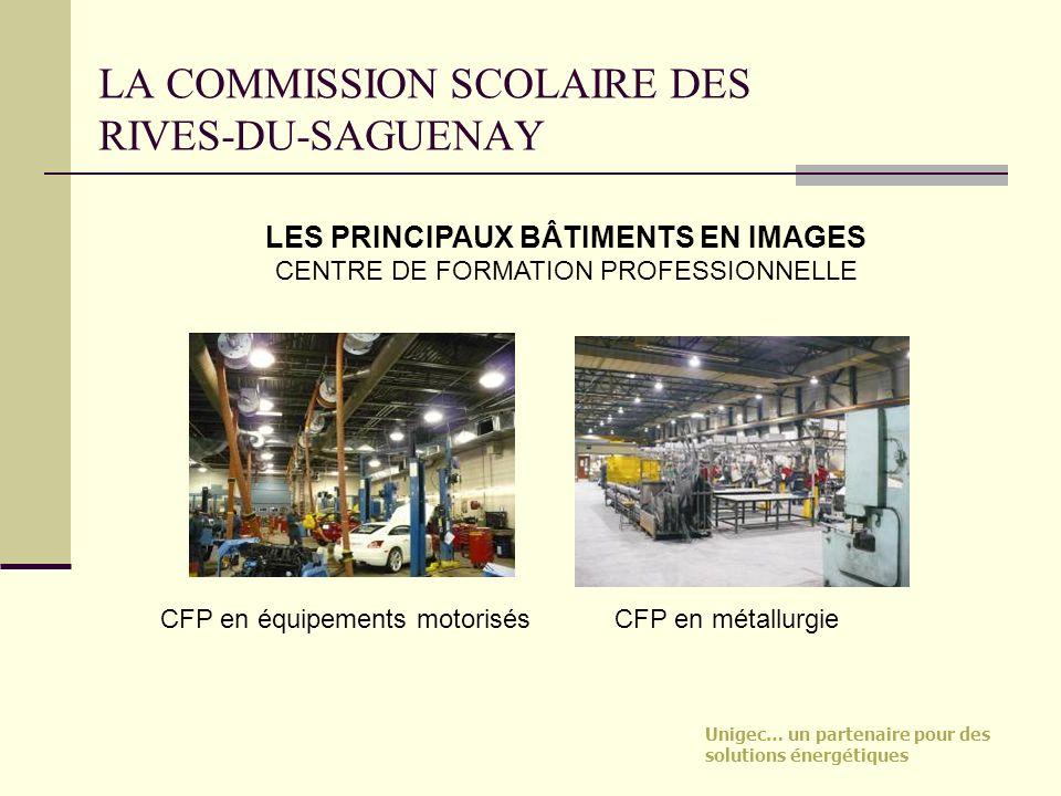 Unigec… un partenaire pour des solutions énergétiques LA COMMISSION SCOLAIRE DES RIVES-DU-SAGUENAY CFP en équipements motorisés LES PRINCIPAUX BÂTIMEN