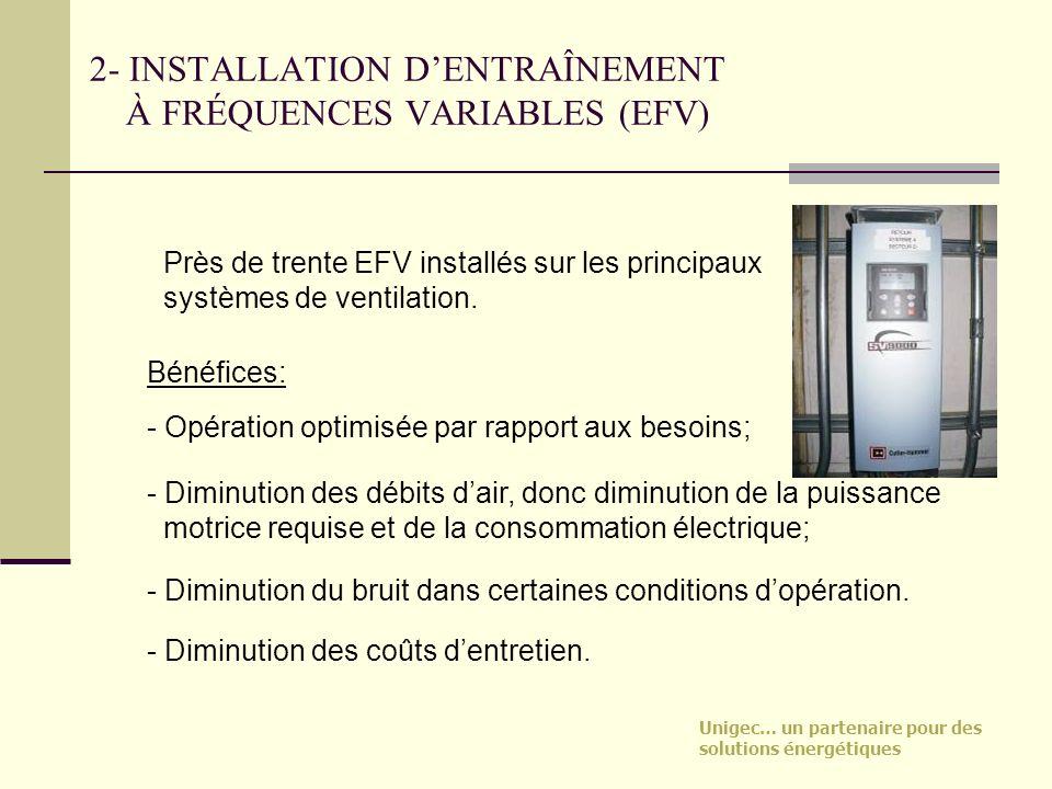Unigec… un partenaire pour des solutions énergétiques 2- INSTALLATION DENTRAÎNEMENT À FRÉQUENCES VARIABLES (EFV) Près de trente EFV installés sur les