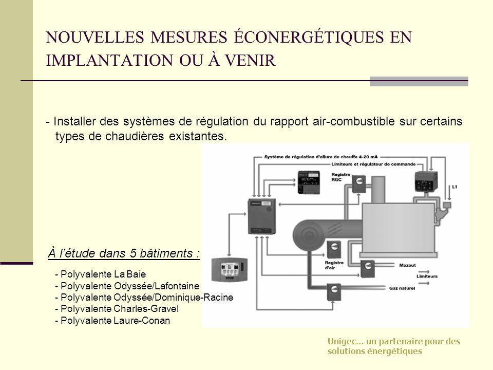 Unigec… un partenaire pour des solutions énergétiques NOUVELLES MESURES ÉCONERGÉTIQUES EN IMPLANTATION OU À VENIR - Installer des systèmes de régulati