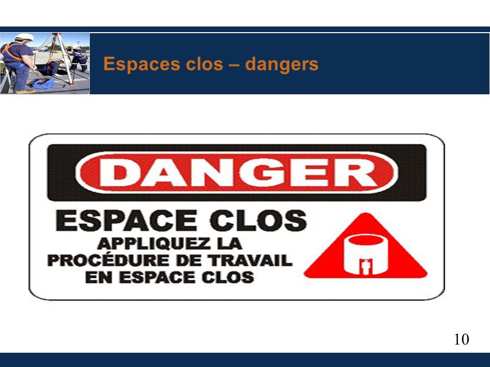 10 Espaces clos – dangers