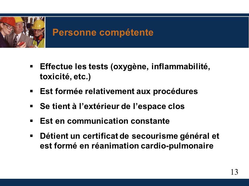 13 Personne compétente Effectue les tests (oxygène, inflammabilité, toxicité, etc.) Est formée relativement aux procédures Se tient à lextérieur de lespace clos Est en communication constante Détient un certificat de secourisme général et est formé en réanimation cardio-pulmonaire