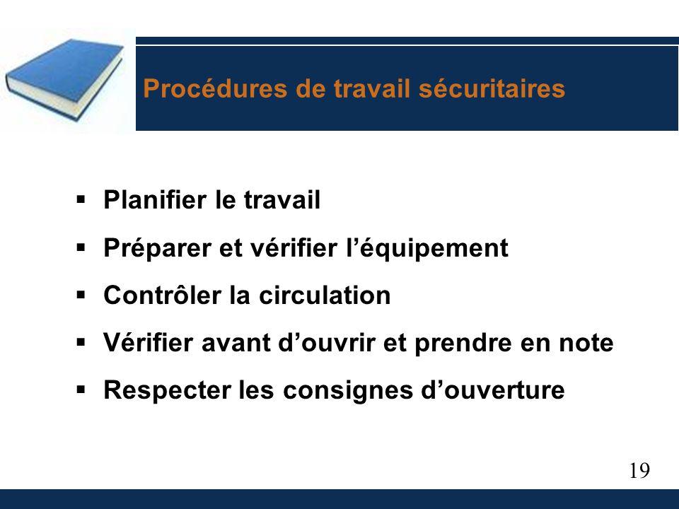 19 Procédures de travail sécuritaires Planifier le travail Préparer et vérifier léquipement Contrôler la circulation Vérifier avant douvrir et prendre en note Respecter les consignes douverture