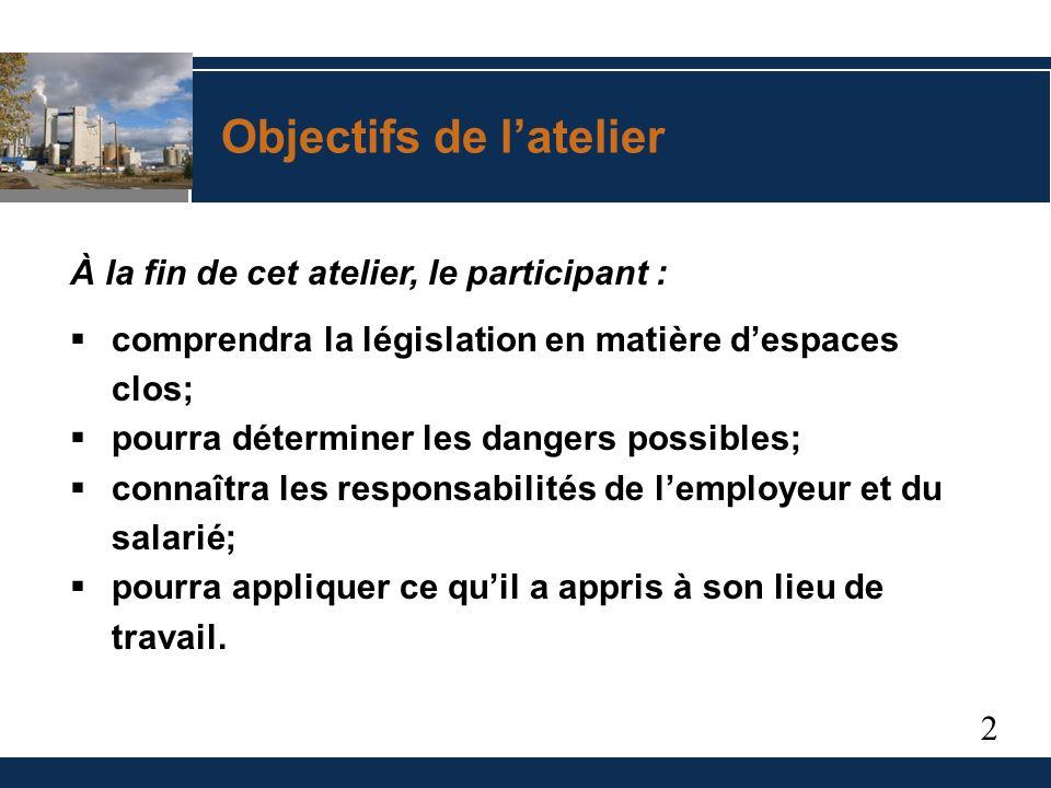 3 1.Législation en matière de santé et de sécurité 2.Reconnaissance des dangers 3.Procédures de travail sécuritaires Aperçu de latelier