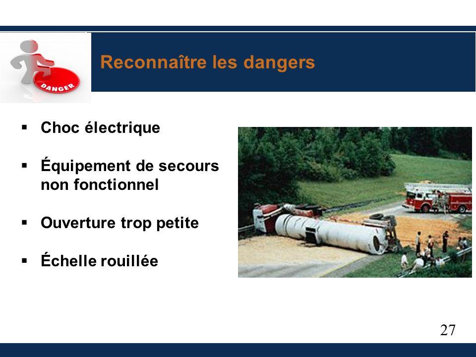 27 Choc électrique Équipement de secours non fonctionnel Ouverture trop petite Échelle rouillée Reconnaître les dangers