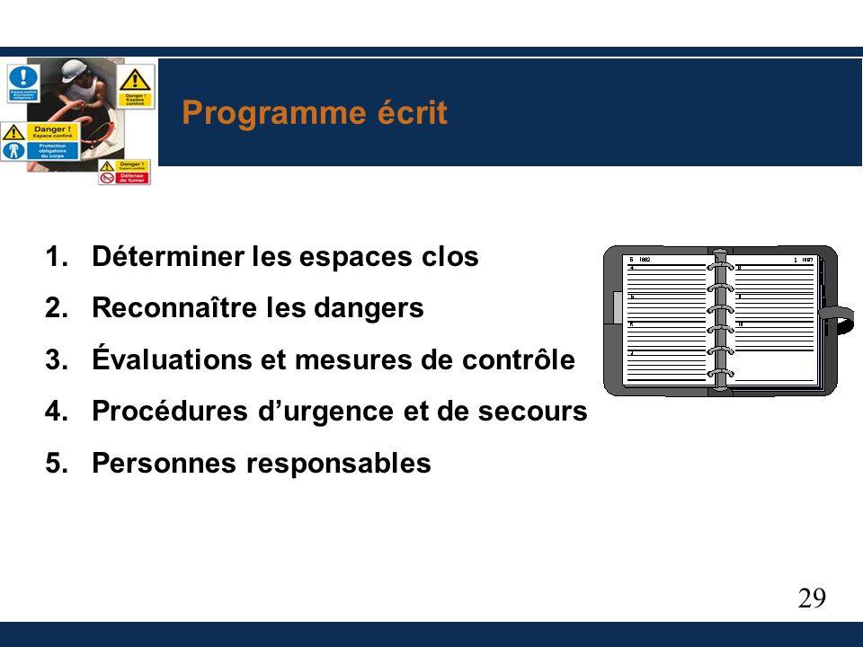 29 Programme écrit 1.Déterminer les espaces clos 2.Reconnaître les dangers 3.Évaluations et mesures de contrôle 4.Procédures durgence et de secours 5.Personnes responsables
