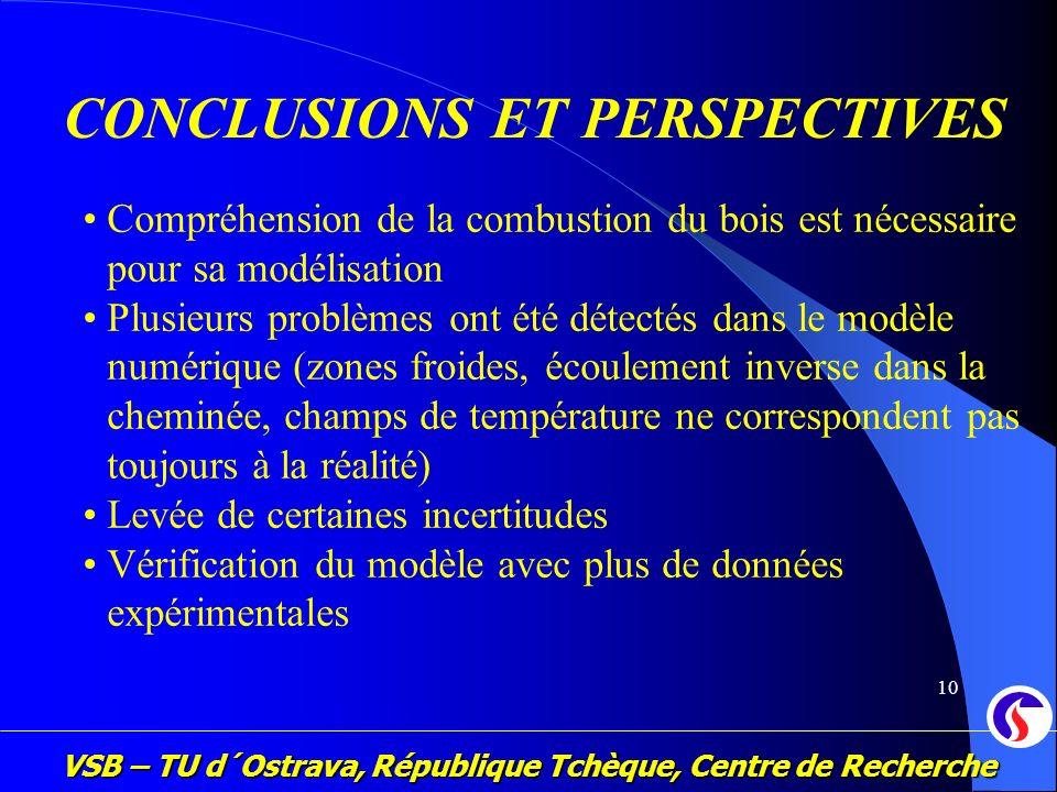 VSB – TU d´Ostrava, République Tchèque, Centre de Recherche 10 CONCLUSIONS ET PERSPECTIVES Compréhension de la combustion du bois est nécessaire pour