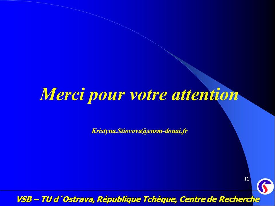 VSB – TU d´Ostrava, République Tchèque, Centre de Recherche 11 Merci pour votre attention Kristyna.Stiovova@ensm-douai.fr
