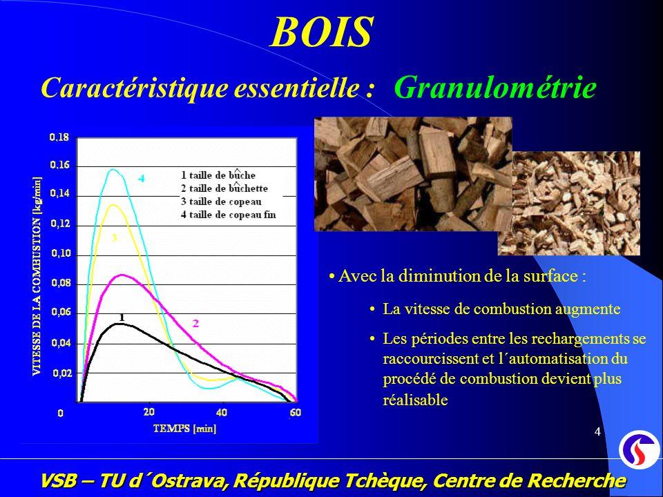VSB – TU d´Ostrava, République Tchèque, Centre de Recherche 4 BOIS Caractéristique essentielle : Granulométrie La vitesse de combustion augmente Les p