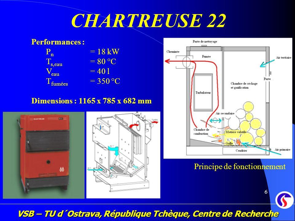 VSB – TU d´Ostrava, République Tchèque, Centre de Recherche 7 ESSAIS PRATIQUES Installation expérimentale Paramétres sourveillés : Température Pression Concentrations dans les fumées : CO, CO 2, NO x, goudron, particules solides, PCDD, PCDF, autres matériaux organiques Conditions pour obtenir la label Flamme Verte (ADEME) : COV (100 mg/m 3, 10% d´O 2 ) Poussières (150 mg/m 3, 10% d´O 2 ) Critère de rendement (67 + 6 log Pn*) * Pn est la puissance nominale de la chaudière [kW]