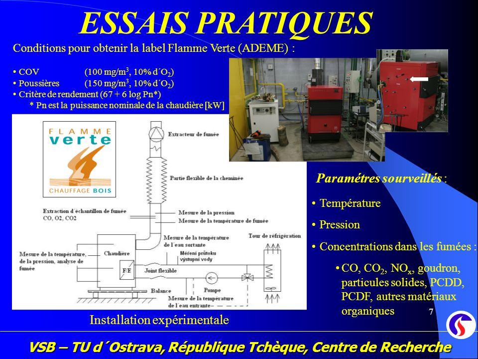 VSB – TU d´Ostrava, République Tchèque, Centre de Recherche 7 ESSAIS PRATIQUES Installation expérimentale Paramétres sourveillés : Température Pressio