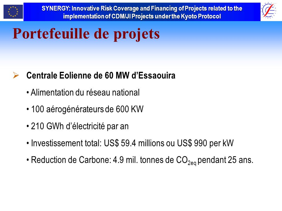 SYNERGY Innovative Risk Coverage and Financing of Projects related to the implementation of CDM/JI Projects under the Kyoto Protocol SYNERGY: Innovative Risk Coverage and Financing of Projects related to the implementation of CDM/JI Projects under the Kyoto Protocol Portefeuille de projets Centrale Eolienne de 60 MW dEssaouira Alimentation du réseau national 100 aérogénérateurs de 600 KW 210 GWh délectricité par an Investissement total: US$ 59.4 millions ou US$ 990 per kW Reduction de Carbone: 4.9 mil.