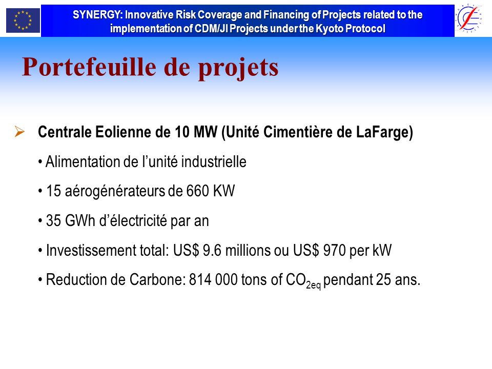 SYNERGY Innovative Risk Coverage and Financing of Projects related to the implementation of CDM/JI Projects under the Kyoto Protocol SYNERGY: Innovative Risk Coverage and Financing of Projects related to the implementation of CDM/JI Projects under the Kyoto Protocol Portefeuille de projets (2/2) Portefeuille de projets Centrale Eolienne de 10 MW (Unité Cimentière de LaFarge) Alimentation de lunité industrielle 15 aérogénérateurs de 660 KW 35 GWh délectricité par an Investissement total: US$ 9.6 millions ou US$ 970 per kW Reduction de Carbone: 814 000 tons of CO 2eq pendant 25 ans.