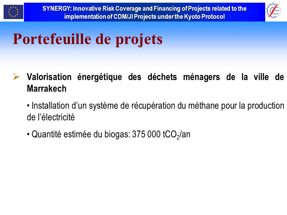 SYNERGY Innovative Risk Coverage and Financing of Projects related to the implementation of CDM/JI Projects under the Kyoto Protocol SYNERGY: Innovative Risk Coverage and Financing of Projects related to the implementation of CDM/JI Projects under the Kyoto Protocol Valorisation énergétique des déchets ménagers de la ville de Marrakech Installation dun système de récupération du méthane pour la production de lélectricité Quantité estimée du biogas: 375 000 tCO 2 /an Portefeuille de projets