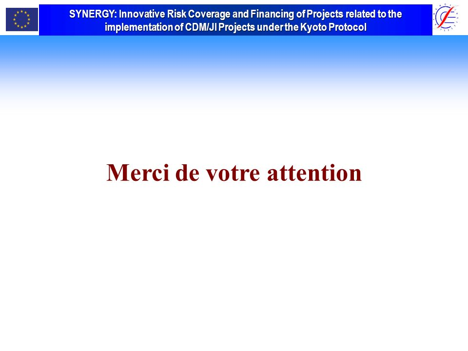 SYNERGY Innovative Risk Coverage and Financing of Projects related to the implementation of CDM/JI Projects under the Kyoto Protocol SYNERGY: Innovative Risk Coverage and Financing of Projects related to the implementation of CDM/JI Projects under the Kyoto Protocol Merci de votre attention