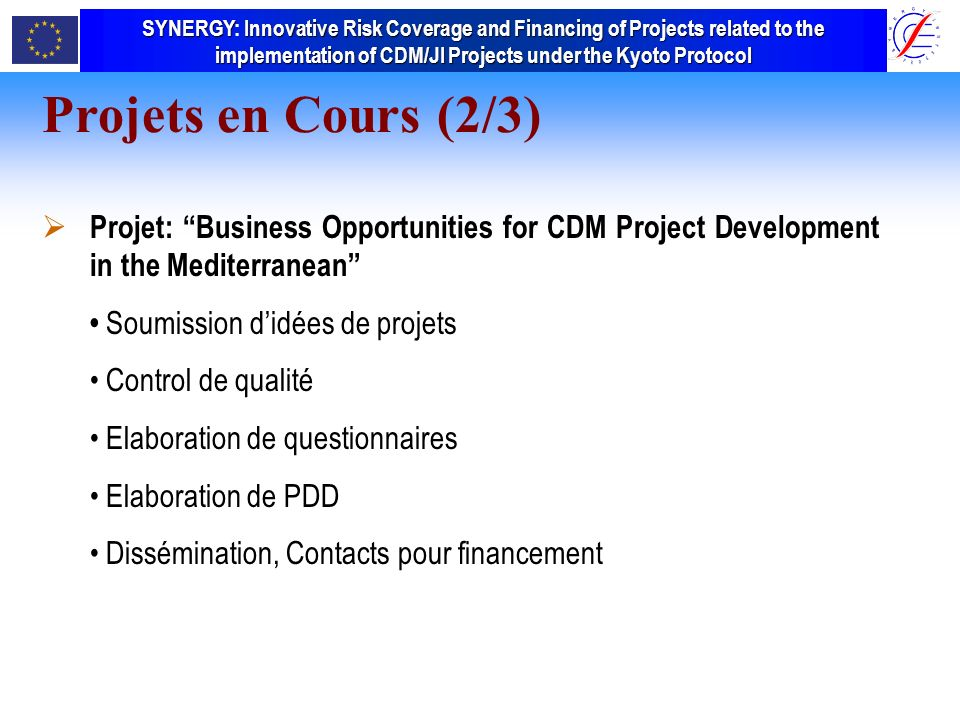 SYNERGY Innovative Risk Coverage and Financing of Projects related to the implementation of CDM/JI Projects under the Kyoto Protocol SYNERGY: Innovative Risk Coverage and Financing of Projects related to the implementation of CDM/JI Projects under the Kyoto Protocol Projets en Cours (2/3) Projet: Business Opportunities for CDM Project Development in the Mediterranean Soumission didées de projets Control de qualité Elaboration de questionnaires Elaboration de PDD Dissémination, Contacts pour financement