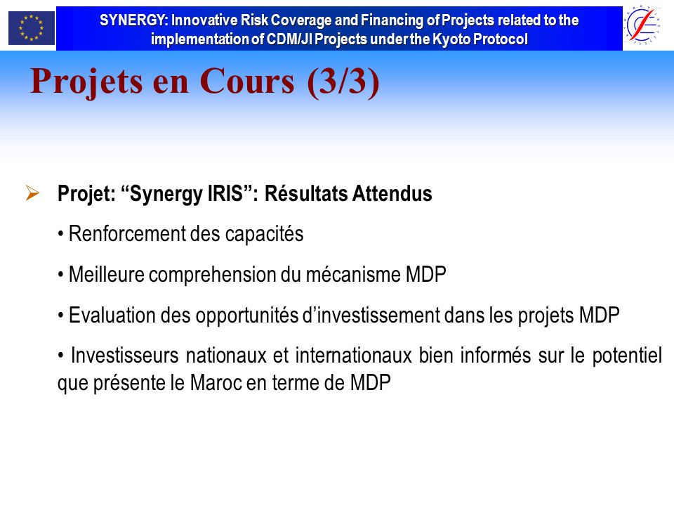 SYNERGY Innovative Risk Coverage and Financing of Projects related to the implementation of CDM/JI Projects under the Kyoto Protocol SYNERGY: Innovative Risk Coverage and Financing of Projects related to the implementation of CDM/JI Projects under the Kyoto Protocol Projet: Synergy IRIS: Résultats Attendus Renforcement des capacités Meilleure comprehension du mécanisme MDP Evaluation des opportunités dinvestissement dans les projets MDP Investisseurs nationaux et internationaux bien informés sur le potentiel que présente le Maroc en terme de MDP Projets en Cours (3/3)