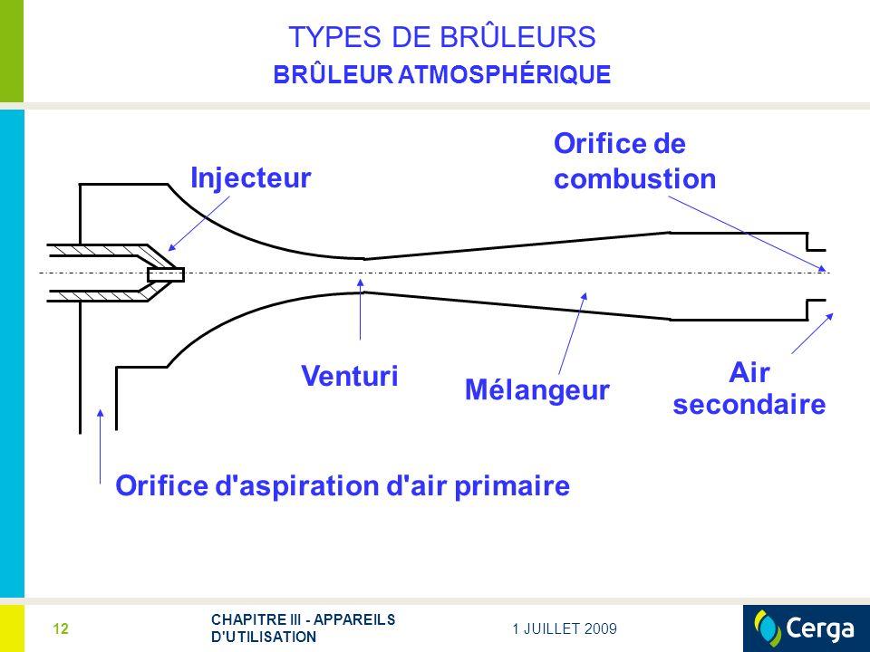 1 JUILLET 2009 CHAPITRE III - APPAREILS D UTILISATION 12 TYPES DE BRÛLEURS BRÛLEUR ATMOSPHÉRIQUE Injecteur Orifice de combustion Venturi Mélangeur Orifice d aspiration d air primaire Air secondaire