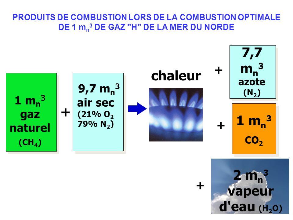 + 1 m n 3 gaz naturel (CH 4 ) 9,7 m n 3 air sec (21% O 2 79% N 2 ) 7,7 m n 3 azote (N 2 ) 1 m n 3 CO 2 2 m n 3 vapeur d'eau (H 2 O) + + + chaleur PROD