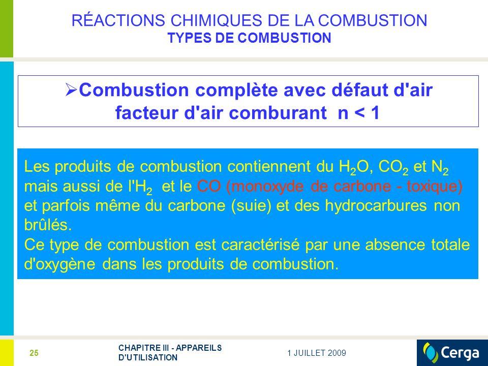 1 JUILLET 2009 CHAPITRE III - APPAREILS D'UTILISATION 25 Combustion complète avec défaut d'air facteur d'air comburant n < 1 Les produits de combustio